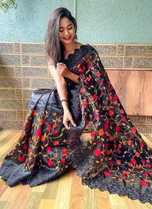 Traditional Wear Black Organza Saree