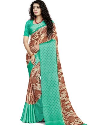 Traditional Wear Brown Digital Printed Awesome Saree