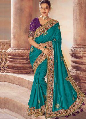 Trendy Bollywood Style Peacock Green Sana Silk Saree