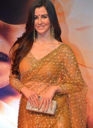 Trendy Butterfly Net Golden Bollywood Style Saree