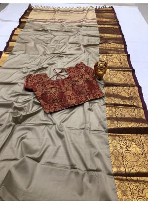 Trendy Cotton Silk Chiku Classic Designer Saree