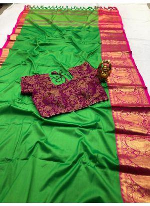 Trendy Cotton Silk Parrot Classic Designer Saree