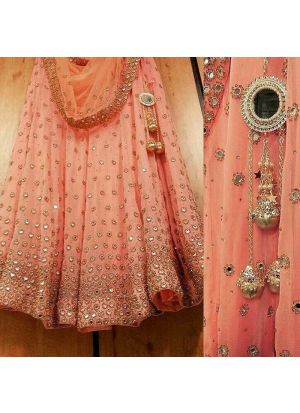Trendy Light Peach Gorgette Fancy Thread Work Lehenga Choli With Mono Net Dupatta