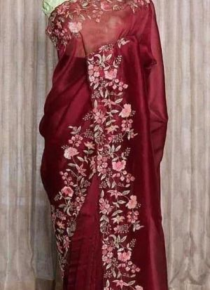 Trendy Maroon Silk Sequence Saree