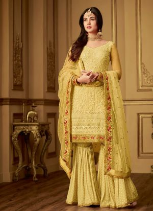 Trendy Net Sharara Suit With Diamond Work