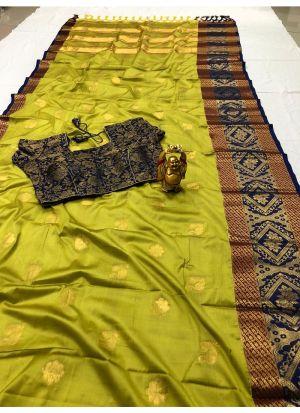 Trendy Parrot Cotton Silk Classic Designer Saree