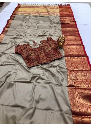Trendy Silver Cotton Silk Classic Designer Saree