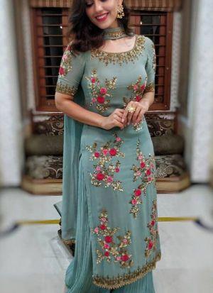 Trendy Turquoise Blue Sequence Thread Work Festive Wear Salwar Suit
