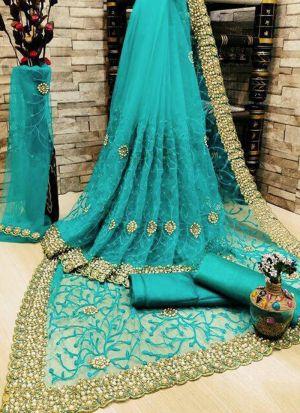 Turquoise Blue Banglori Silk Zari Work Saree