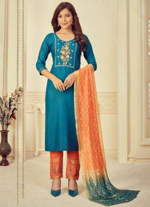 Turquoise Blue Printed Salwar Suit