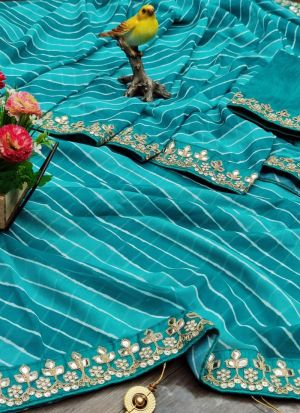 Turquoise Leheriya Printed Saree