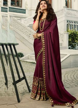 Unique Style Vichitra Silk Burgundy Maroon Jequard Saree