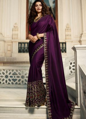 Unique Style Vichitra Silk Dark Violet Jequard Saree
