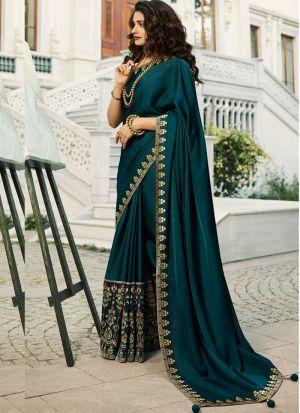 Unique Style Vichitra Silk Deep Teal Jequard Saree