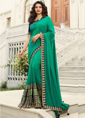 Unique Style Vichitra Silk Turquoise Green Jequard Saree