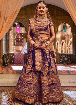 Upcoming Royal Blue Pure Velvet Latest Bridal Lehenga Design