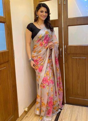 Urvashi Rautela Light Cream Printed Saree
