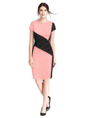 V-Neck Sleeveless Peach Short Dress For Girls