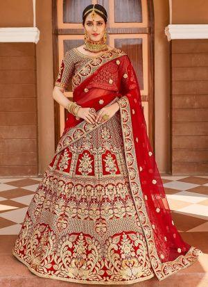 Velvet Bridal Lehenga Choli In Red