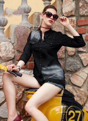 Vintage Colour Black Denim Cotton Top