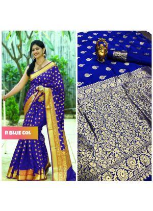 Vivaha Bridal Wedding Blue Banarasi Saree