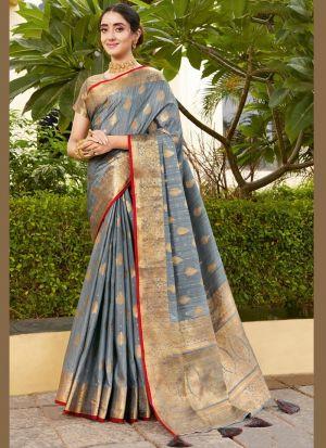 Weaving Silk Blue Grey Saree