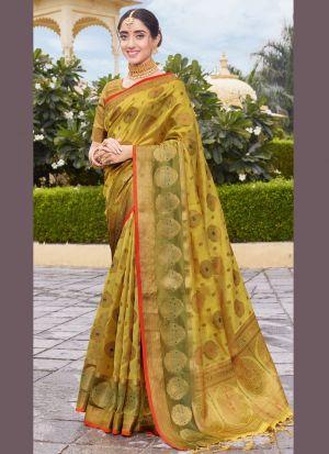 Weaving Work Dusty Yellow Saree