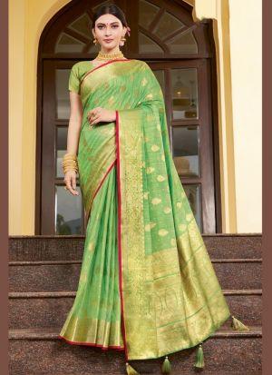 Weaving Work Light Green Saree