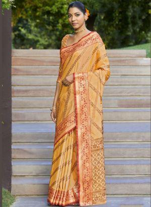 Weaving Work Mustard Silk Saree