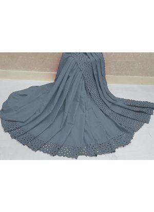 Wedding Designer Grey Makhan Malai Silk Reniya Cutwork Saree