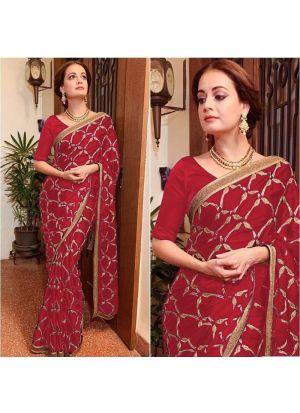Wedding Designer Red Vichitra Silk Heavy Embroidery Saree