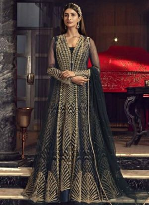 Wedding Special Embroidered Navy Butterfly Net Salwar Suit