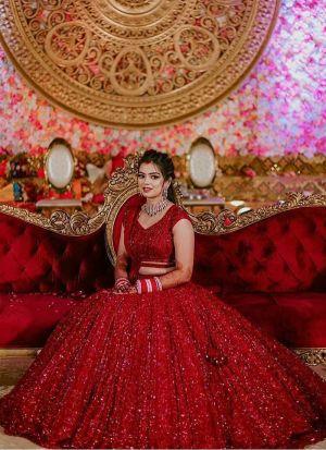Wedding Special Red Sequence Work Lehenga Choli