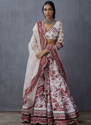 Wedding Style White Italian Silk Digital Print Lehenga Choli