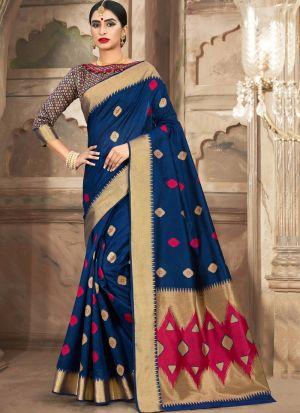 Wedding Wear Blue Cotton Handloom Saree