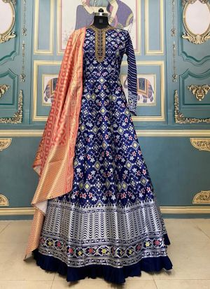 Wedding Wear Blue Digital Printed Gown With Contrast Dupatta