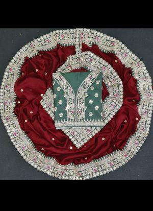 Wedding Wear Cherry Red Rangoli Georgette Silk Saree