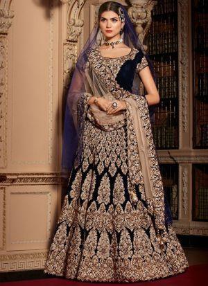 Wedding Wear Dark Blue Lehenga Choli