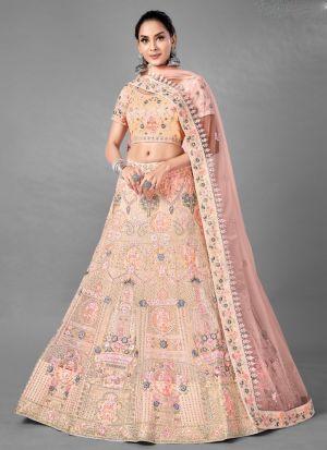 Wedding Wear Dori Work Peach Lehenga Choli