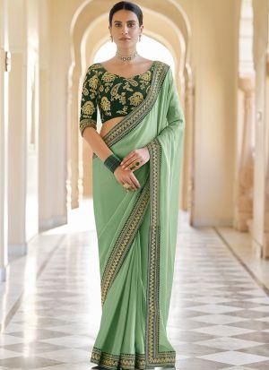 Wedding Wear Green Zari Work Saree