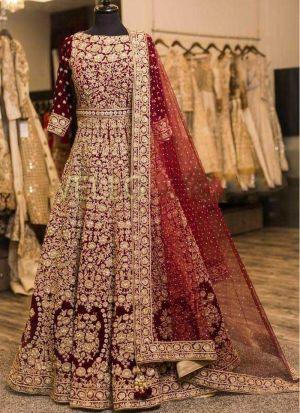 Wedding Wear Heavy Embroidered Maroon Velvet Gown