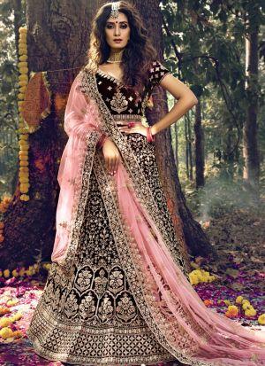 Wedding Wear Maroon Pure Velvet Dori Work Lehenga Choli