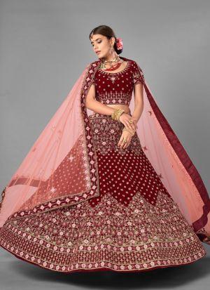 Wedding Wear Maroon Velvet Lehenga Choli