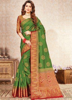Wedding Wear Mehandi Naylon Silk Saree