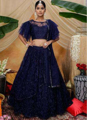 Wedding Wear Navy Thread Work Lehenga Choli