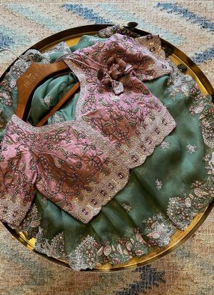 Wedding Wear Olive Green Vichitra Silk Saree
