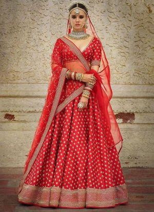 Wedding Wear Red Embroidery Lehenga Choli