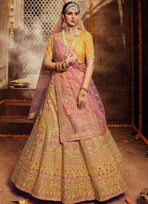 Wedding Wear Yellow Sequence Lehenga Choli With Soft Net Dupatta