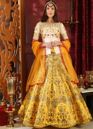 White And Yellow Latest Indian Designer Lehenga Choli For Engagement Party