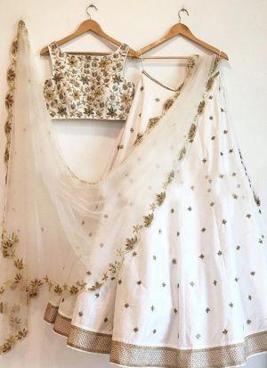 White Banglori Silk Embroidery Lehenga